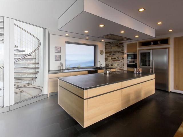 Küchenfertigung aus Massivholz aus einer 3D-Visualisierung