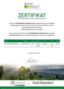 Zertifikat CO2-neutrale Produktion für die Tischlertekten, die Schreinerei im Westerwald.