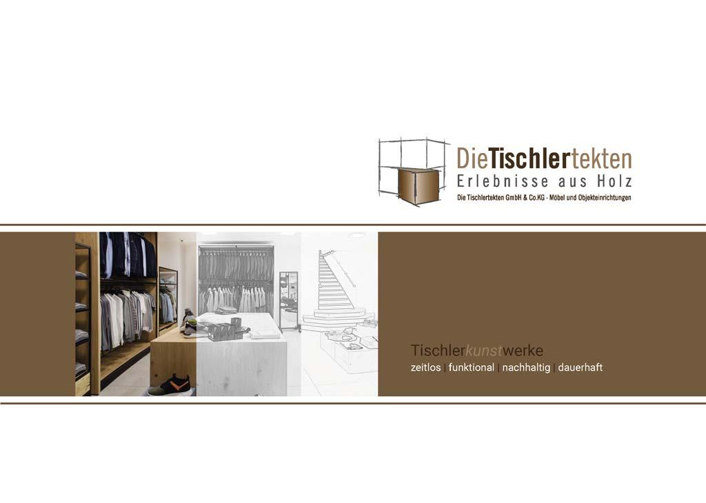 Info Flyer Titelseite der Broschüre über die Schreinerei die Tischlertekten im Westerwald.